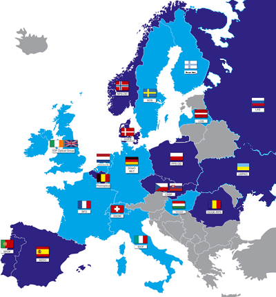 Map of Europe with all societal members of the EOS.